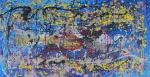 """E. Boechat """" Composição Abstrata"""" tríptico ost med 81 x 40, 81 x 81 e 81 x 40 cm num total juntos de 81 x 161  cm. Assinado e datado no verso 2012/15"""