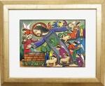"""G.ANDRADE. """"Cena bíblica"""", óleo s/tela, 30 x 40 cm. Assinado no cid. Emoldurado, 43 x 64 cm."""