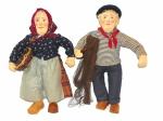 """Casal de bonecos em artesanato de tecido alemão do século XIX, representando """"Pescador"""" e """"Camponesa"""". Alts 50 cm e 48 cm."""