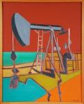"""WALDYR MATTOS. """"Máquina de Perfuração de Petróleo"""", óleo s/tela, 92 x 73 cm. total . Assinado e datado frente e verso, 30.07.2008."""