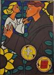 """JANUARIO. """"Teologia"""", óleo s/tela, 100 x 74 cm. Assinado e datado  no CIE, 1969. Emoldurado,"""