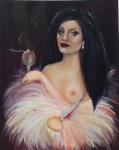 "LIZ MIRELLI. ""Absintha"", óleo s/tela, 100 x 80 cm. Assinado. Sem moldura."