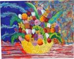 """AUGUSTO HERKENHOFF.""""Vaso de flores """", óleo s/tela, 81 x 100 cm.   Assinado e datado , 2006. Sem moldura. ( 56/41/25)"""