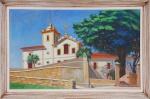 """DIMITRI ISMAILOVITCH. """"Paisagem com igreja"""", óleo s/tela, 47 x 77 cm. Assinado e datado, 1962. Emoldurado, 56 x 86 cm."""