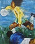 """KATIA ALMEIDA. """"Futebol Paixão Nacional"""", acrílico s/tela, 100 x 80 cm. Assinado  e datado no verso , 2010. Cache do 1 Salão Nacional de Artes Saber Cultural 2010.Sem moldura."""