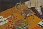 """ANTONIO AMADOR. """"Mesa reservada"""", óleo s/tela,  70 x 100 cm. Assinado . Sem moldura."""