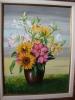 """EVILASIO LOPES.  """"Vaso com flores"""". óleo s/tela, 61 x 46 cm . Assinado e datado frente e verso, 1999 . Emoldurado, 82 x 66 cm. ( moldura no estado)."""