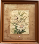 """GEORGINA DE ALBUQUERQUE . """" Flores"""", aquarela,  57 x 44 cm. Assinado no CID.(no estado- manchas do tempo). Emoldurado com vidro, 102 x 89 cm."""
