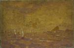 """SEM ASSINATURA. """"Baia da Guanabara"""", óleo s/tela,  40 x 60 cm. No estado ( manchas do tempo e alguns rasgos no acabamento). Sem moldura."""