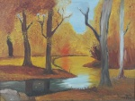 """Vera - """"Paisagem com rio"""", óleo sobre tela, assinado no c.i.d. Medidas, 46 x 61 cm, moldura, 75 x 90 cm."""