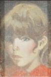 """Roberto de Souza - """"Figura de menina', óleo sobre tela, óleo sobre eucatex, assinado frente e verso. Medidas, 11 x 7 cm, moldura, 26 x 22 cm. (Moldura com pequeno lascado)."""
