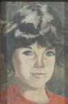 """Roberto de Souza - """"Figura de menina', óleo sobre tela, óleo sobre eucatex, assinado frente e verso. Medidas, 11 x 7 cm, moldura, 26 x 22 cm."""