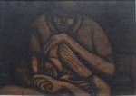 """FARNESE DE ANDRADE. """"Casal"""", técnica mista colada s/eucatex, 49 x 68 cm. Assinado e datado no CIE, 66. Emoldurado, 72 x 93 cm."""
