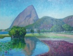 """NANCY TELLES. """"Vista com Pão de Açúcar"""", óleo s/tela, 50 x 64 cm. Assinado no CIE. Obra premiada com Troféu Eleonora Figueiredo no 47º Salão Feminino em 2011, Sociedade Brasileira de Belas Artes. Emoldurado, 66 x 78 cm."""
