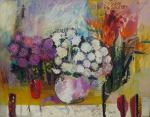 """IVAN SERPA. """"Flores"""",  óleo s/tela ,100 x 130 cm. total. Assinado e datado no CID."""