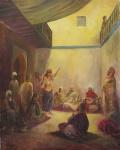 """CARLOS KAHAN. """"Dança Árabe"""", óleo s/tela,  100 x 80 cm.  (restauro na tela no verso) .Assinado no CID. Sem moldura."""