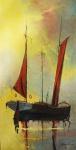 """SANSÃO PEREIRA ( 1919 - 2014). """"Barco"""" óleo s/tela, 186 x 95 cm.  Assinado no CID. Sem moldura."""