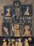 "RUBENS GERCHMANN.""Sem Título"", técnica mista s/papel, 34 x 26 cm. Assinado cid, datado 1964. (05799)"