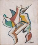 """CARLOS PRADO. """"Abstrato"""", aquarela s/papel, 23 x 20 cm. Assinado cid. (04326)"""