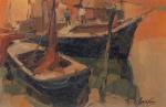 """GERALDO CASTRO.""""Barcos"""", óleo s/tela colado em madeira, 20 x 30 cm. Assinado no cid. (05104)"""