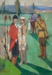 """ARMINIO PASCHOAL. """"""""No Joquei Club de Paris"""", óleo s/eucatex, 33 x 23 cm. Assinado no cie. (03229)"""