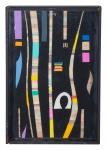 """PAULO MENDES FARIA. """" Composição"""", tinta esferográfica e ecoline c/colagem de borracha etileno, 33 x 22 cm. Assinado cie e verso , datado 2008. ( 00571)"""