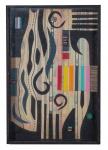 """PAULO MENDES FARIA. """" Composição"""", tinta esferográfica e ecoline c/colagem de borracha etileno, 33 x 22 cm. Assinado cie e verso , datado 2008. ( 00573)"""
