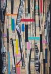 """PAULO MENDES FARIA. """" Composição"""", tinta esferográfica e ecoline c/colagem de borracha etileno, 33 x 22 cm. Assinado cie e verso , datado 2008. ( 00572)"""