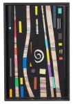 """PAULO MENDES FARIA . """" Composição"""", tinta esferográfica e ecoline c/colagem de borracha etileno, 33 x 22 cm. Assinado cie e verso , datado 2008. ( 00570)"""