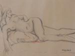 """GEORGES WAMBACK.""""Nú feminino"""", desenho a crayon s/papel, 24 x 32 cm. Assinado cid. (05524)"""