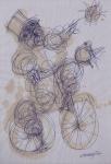 "ALEXANDRE RAPOPORT ."" O Ciclista"", técnica mista, 30 x 21 cm. Assinado cid. (02362)"