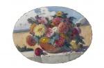 """HENRIQUE CAVALHEIRO.""""Vaso de flores"""", óleo s/tela,  57 x 73 cm. Assinado e datado 1925. ( 05564)."""
