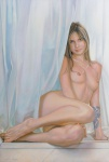 """EDUARDO FIEL. """"Mucha Sobre Pele - Série Arte a Flor da Pele XVIII"""", óleo s/tela, 110 x 75 cm. Assinado cie e verso, datado 2009. (02400)."""