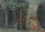 """ALDO BONADEI (1906 - 1974). """"Menina Colhendo Maçã"""", óleo s/cartão colado s/madeira, 19 x 27 cm. Assinado no CIE e datado, 1944 (2378)"""