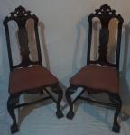 Par de cadeiras Dom José (no estado), estofado em tecido salmão - NR patrimônio 0010-0048, medidas 112x55x50cm.